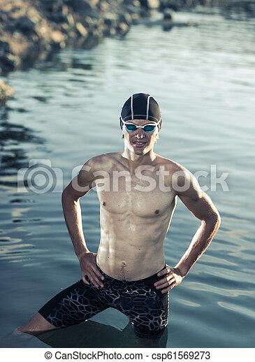 Swimmer model in a sea - csp61569273