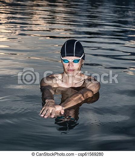 Swimmer model in a sea - csp61569280