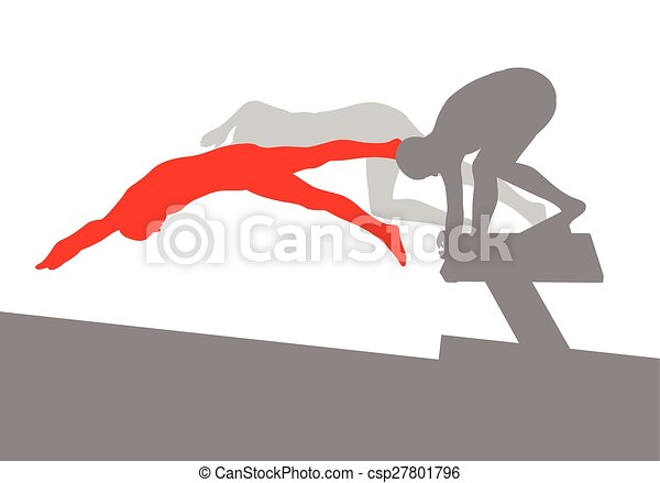 Swimmer position for jump on starting block vector background concept - csp27801796