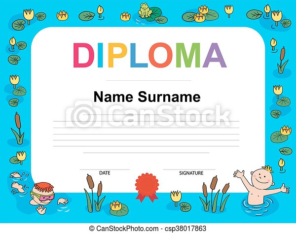 Swimming award certificate template illustration diploma clip swimming award certificate template illustration yelopaper Images
