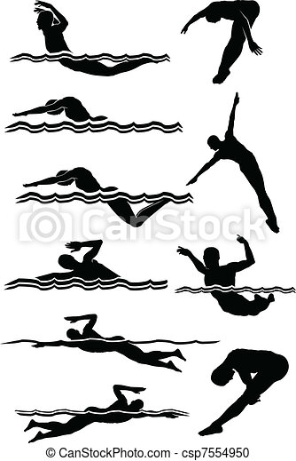 Swimming Diving Male Silhouettes