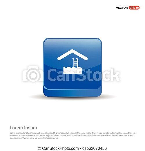 Swimming Icon - 3d Blue Button - csp62070456