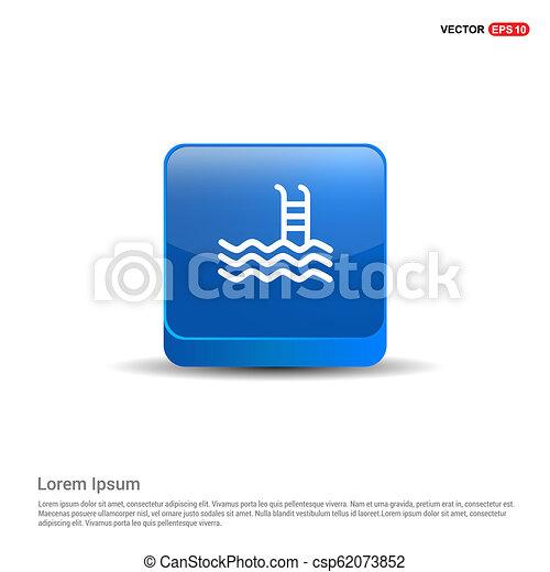 Swimming Icon - 3d Blue Button - csp62073852