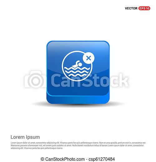 Swimming Icon - 3d Blue Button - csp61270484
