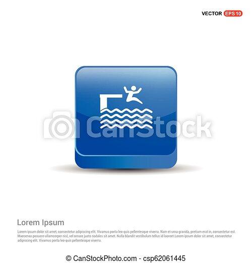 Swimming Icon - 3d Blue Button - csp62061445