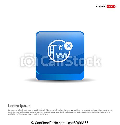 Swimming Icon - 3d Blue Button - csp62096688