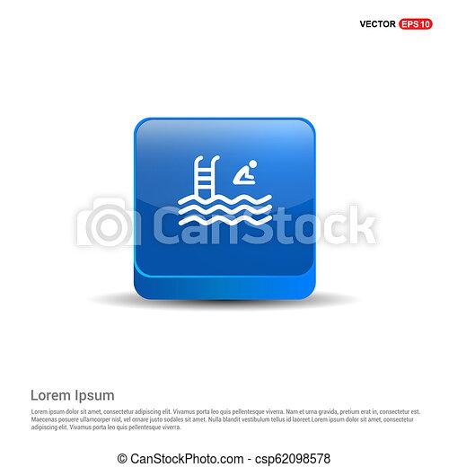 Swimming Icon - 3d Blue Button - csp62098578