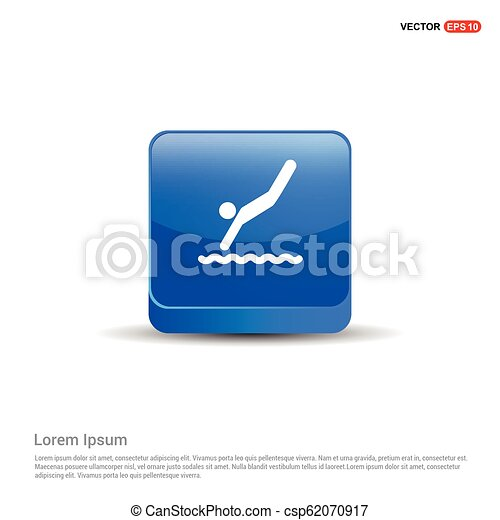 Swimming Icon - 3d Blue Button - csp62070917