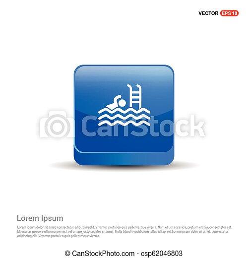 Swimming Icon - 3d Blue Button - csp62046803