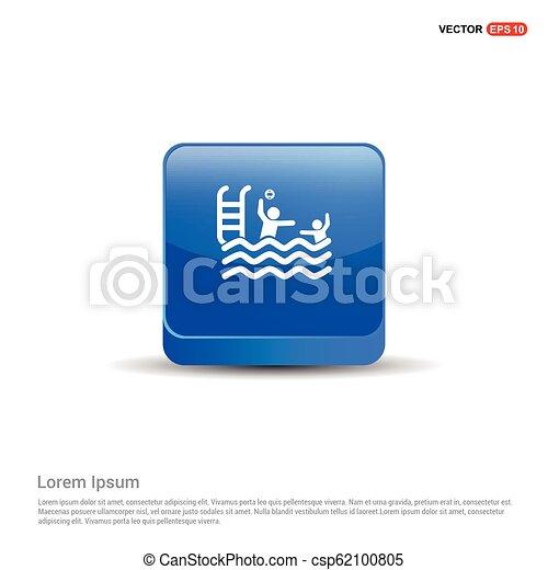 Swimming Icon - 3d Blue Button - csp62100805