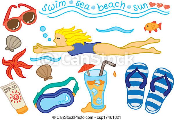 swimming icon doodle - csp17461821