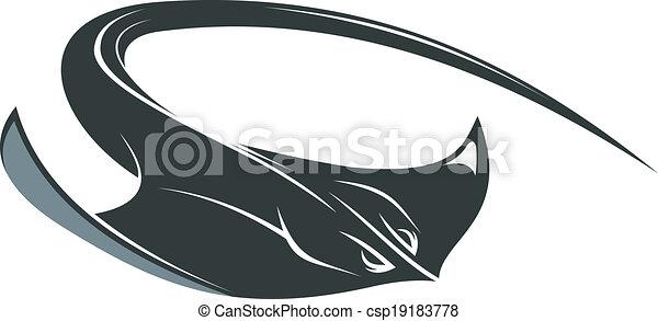 Swimming manta or sting ray - csp19183778
