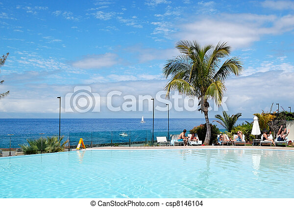 Swimming Pool And Beach At Luxury Hotel Tenerife Island Spain