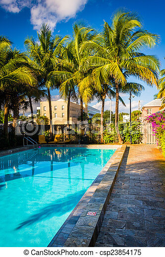 Swimming pool at a hotel in West Palm Beach, Florida. - csp23854175