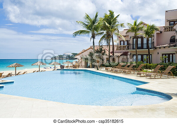 Swimming Pool by the Sea - csp35182615