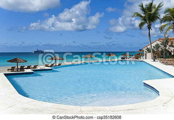 Swimming Pool by the Sea - csp35182608