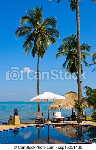Swimming pool by the sea ,Thailand - csp15251430