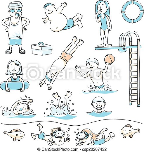 Swimming pool fun cartoon set of people swimming for for Swimming pool drawing