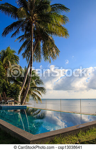 Swimming pool in luxury resort by the sea,Samui,Thailand - csp13038641