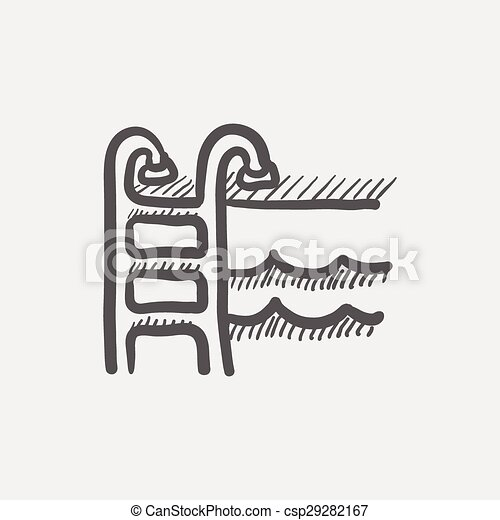 swimming pool ladder sketch icon for web and mobile hand drawn