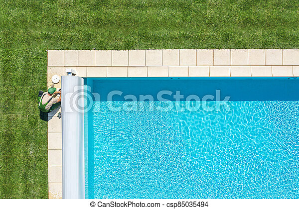 Swimming Pool Maintenance Skimmer Filter Cleaning - csp85035494