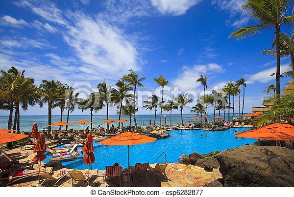 Swimming pool on Waikiki beach, Hawaii - csp6282877