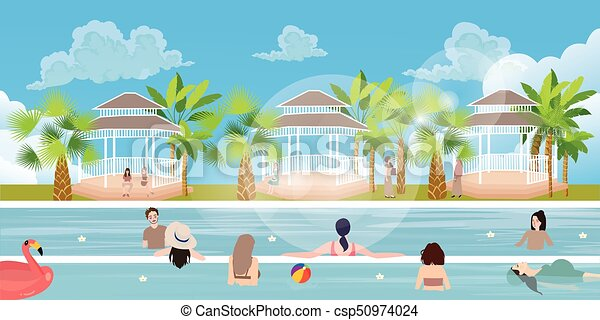 Swimming Pool Situation People Family Girl Man Woman Having Fun Vacation Happy Outdoor Vector