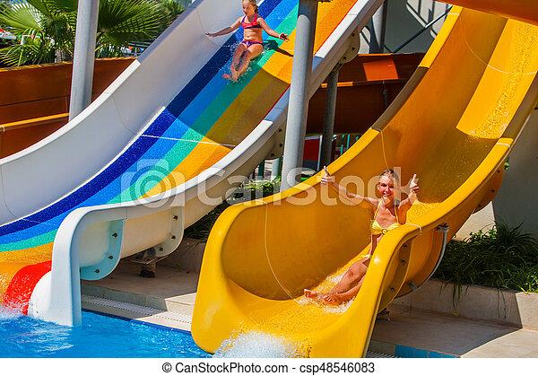 Swimming Pool Slides For Children On Water Slide At Aquapark