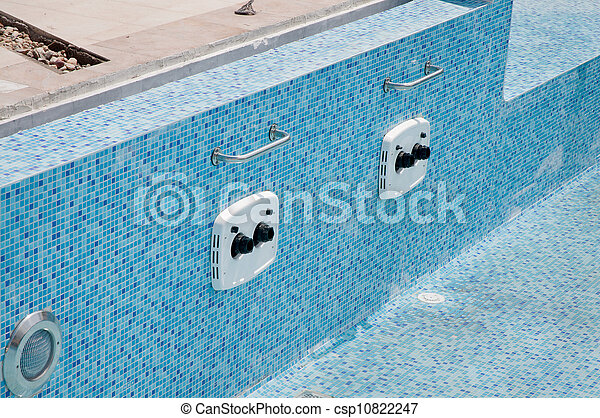 Swimming pool. Equipment of a modern swimming pool, counter current ...