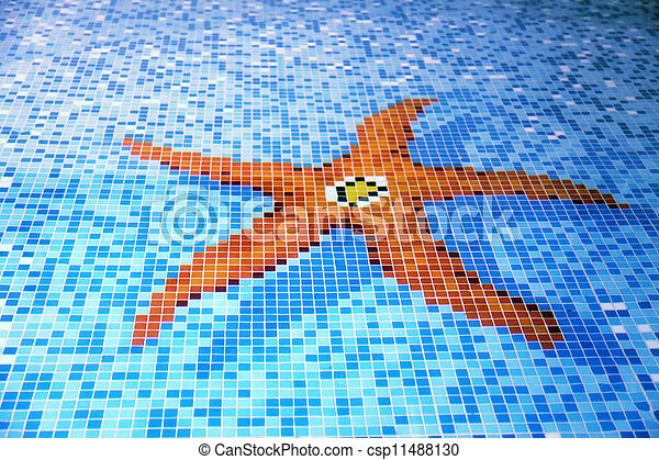 Swimming pool tiled starfish design blue resort swimming for Pool design graphic