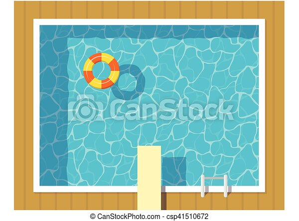 Swimming pool top view with inflatable ring and springboard jump blue water leisure relaxation How to draw swimming pool water