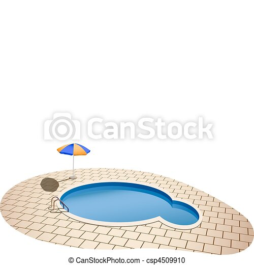 Vector illustration of swimming pool and umbrella for Pool design graphic