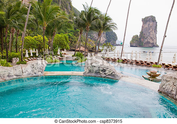 Swimming pool view of Thailand - csp8373915