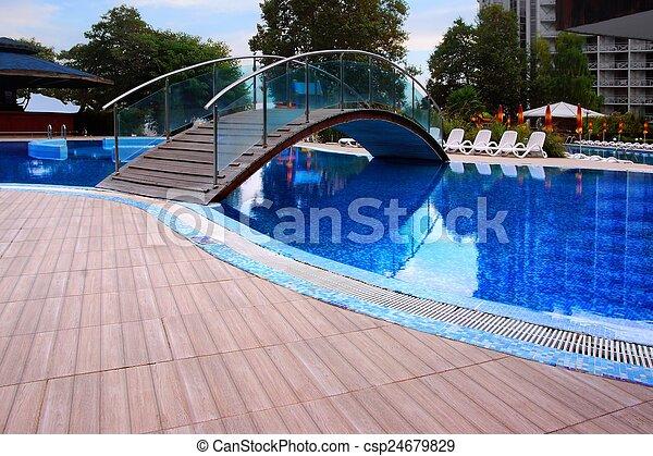 Swimming Pool with Bridge