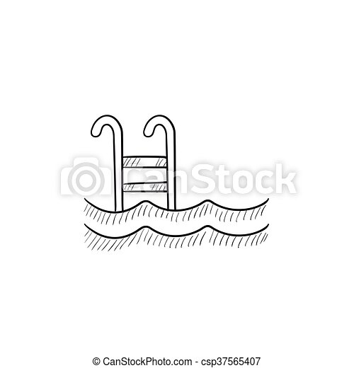 swimming pool with ladder sketch icon swimming pool with ladder