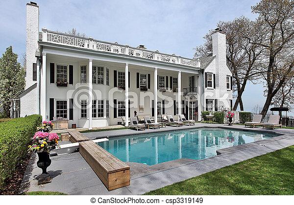 Swimming pool with lake view - csp3319149