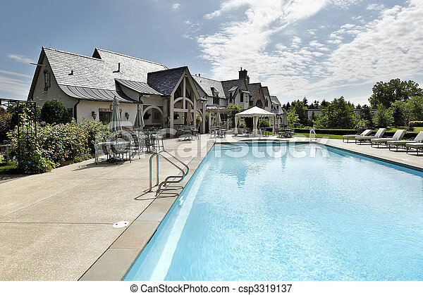 Swimming pool with large deck - csp3319137