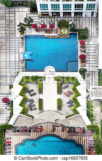 Swimming pool with trees, top view. - csp16607835