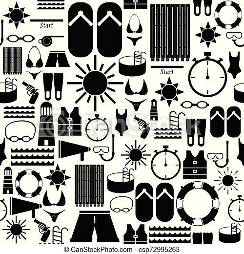 swimming seamless pattern background icon. - csp72995263