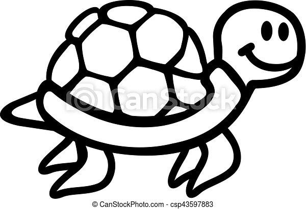 Swimming turtle cartoon outline
