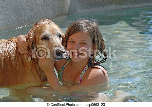 swimming with my dog - csp0663123