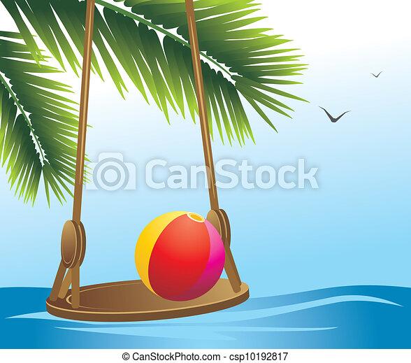 Swing and beach ball among palms - csp10192817