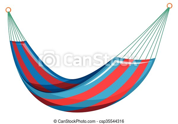 Swing bed in red and blue colors illustration.
