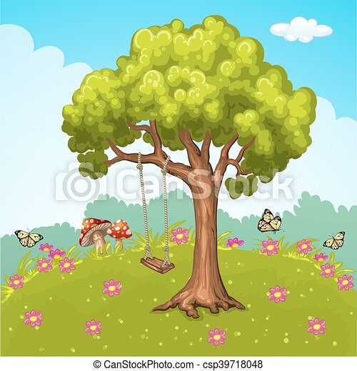 Swing on tree in park. - csp39718048