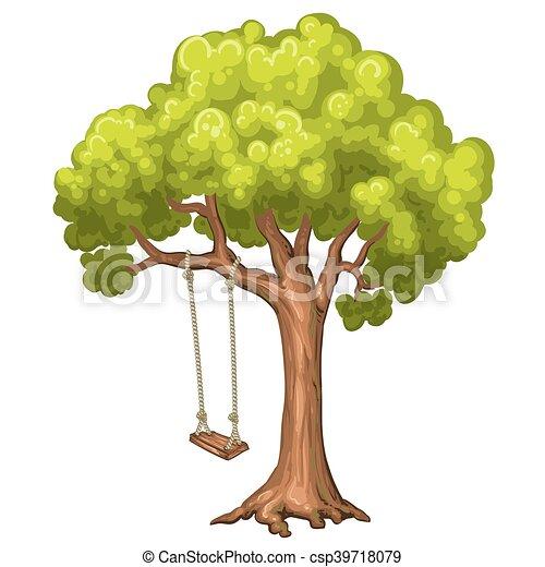 Swing on tree in park. - csp39718079