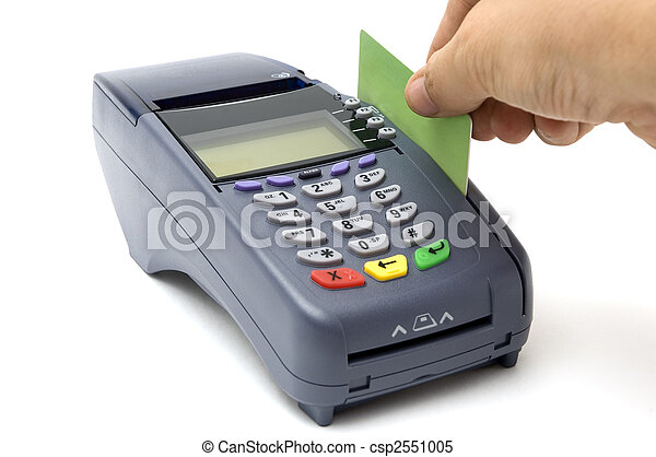 Swiping credit card with POS-terminal - csp2551005