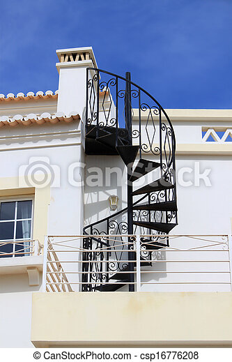 Swirl iron staircase - csp16776208