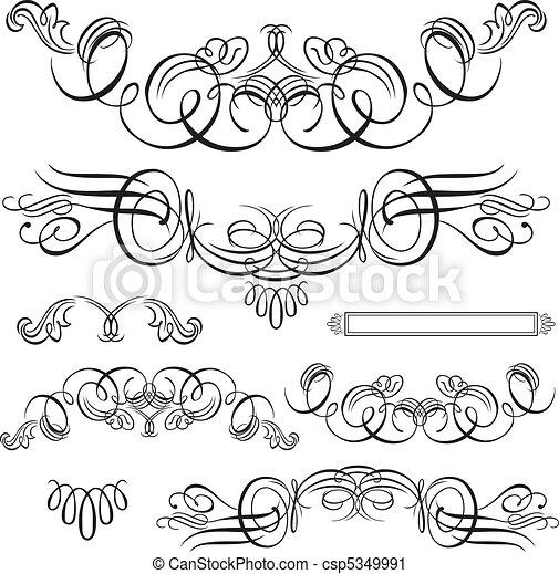 swirl stel, ornament, vector - csp5349991
