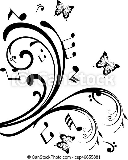 Musical swirls with notes and butterflies for Note musicali dwg