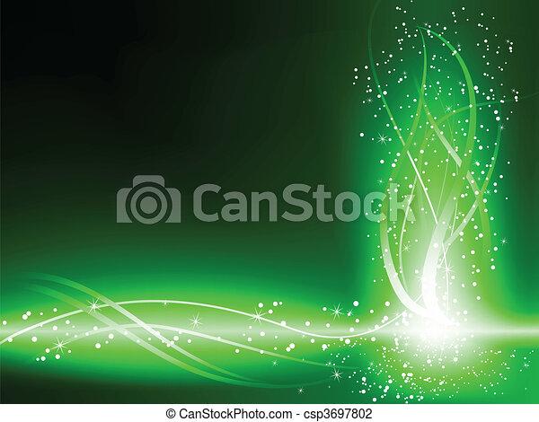 swirls, groene achtergrond, sterretjes - csp3697802